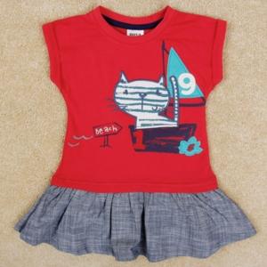 Платье красный верх с морским котом