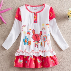Платье белое с красным с зайкой