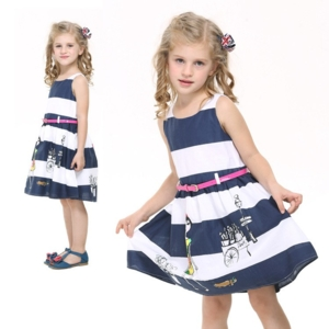 Платье Нова в бело-синюю полоску с ремнем
