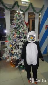 Костюм флисовый панда, на синтепоне с капюшоном