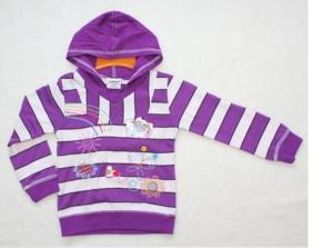 Джемпер с капюшоном с фиолетовыми полосками