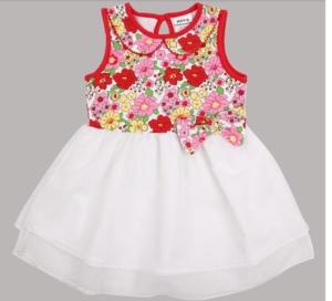 Платье Нова белый низ-верх в цветочек