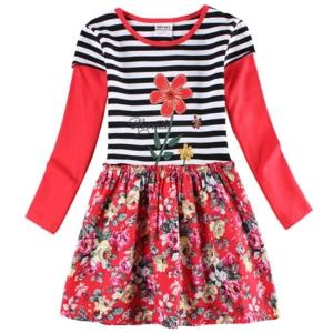 Платье Нова с цветочками низ цветы на красном