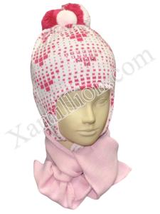 Комплект шапка двойная и шарф для девочки