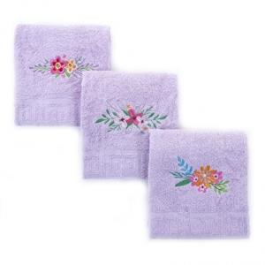 """Махровое полотенце с вышивкой """"Цветы"""" цвет сирене"""