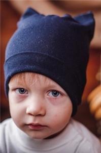 Двухслойная шапка-кошечка+снуд, 50-55см СЕРЫЕ
