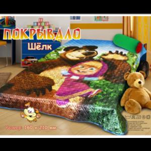 Покрывало шелк Маша и медведь 1.5 сп