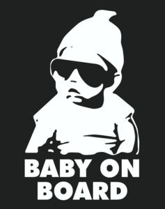 Наклейка на стекло авто BABY ON BOARD(РЕБЁНОК НА б