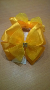 Школьный бант Бабочка желтый с органзой