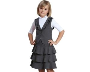 Комплект школьный ( жилет и юбка)  128р бордовый