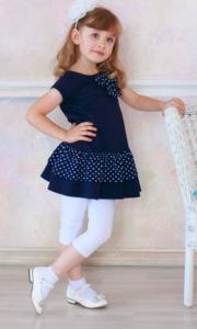 Платье детское с коротким рукавом Цвет синий (горо