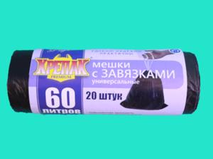 КРЕПАК мешки для мусора с завязками 14мк*60л*20шт