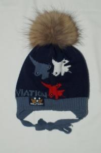 Теплая зимняя шапка Миалт р.52-54, нат.помпон