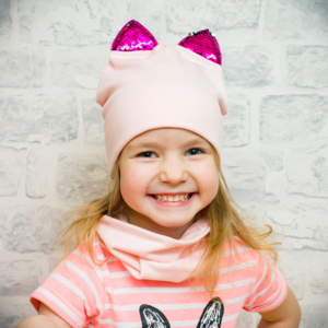 Шапочка Д3-розовый+ушки пайетки