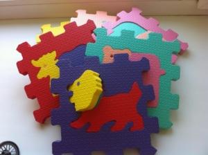 мягкие пазлы коврик 15*15 6 плит животные