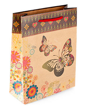 "medium-Пакет подарочный ""Бабочки"", 14х11х6 см"