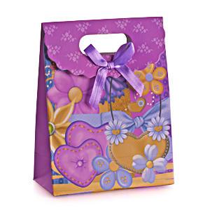 """medium-Пакет подарочный """"Сердца, цветы"""", 12х16 см"""