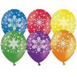 """medium-Воздушные шары Снежинки 5ст рис 12"""" пастель"""